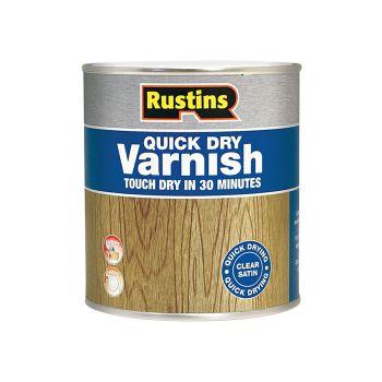 Rustins Quick Dry Varnish Satin Walnut 500ml - RUSQDVSW500