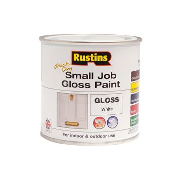 Rustins Quick Dry Small Job Gloss Paint White 250ml - RUSSJPWHQD