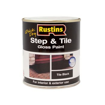 Rustins Quick Dry Step & Tile Paint Black 500ml - RUSSTPBK500Q