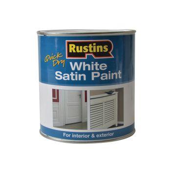 Rustins Quick Dry White Satin Paint 1 Litre - RUSWS1L
