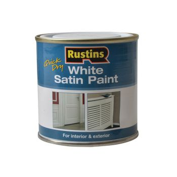 Rustins Quick Dry White Satin Paint 250ml - RUSWS250
