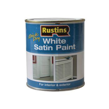 Rustins Quick Dry White Satin Paint 500ml - RUSWS500