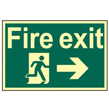 Scan Fire Exit Running Man Arrow Right - Photoluminescent 300 x 200mm - SCA1581