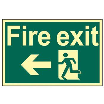Scan Fire Exit Running Man Arrow Left - Photoluminescent 300 x 200mm - SCA1583