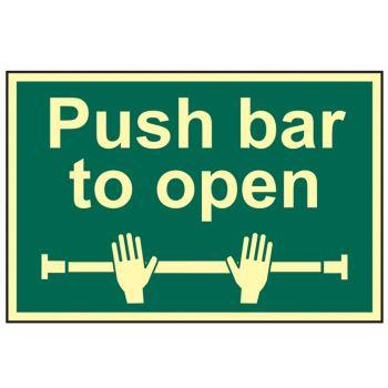 Scan Push Bar To Open - Photoluminescent 300 x 200mm - SCA1584
