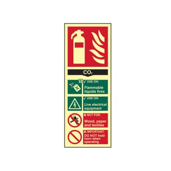 Scan Fire Extinguisher Composite CO2 - Photoluminescent 75 x 200mm - SCA1592