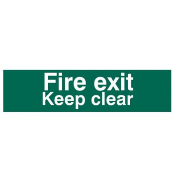 Scan Fire Exit Keep Clear text Only - PVC 200 x 50mm - SCA5206
