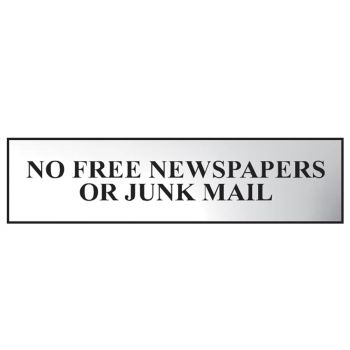Scan No Free Newspapers Or Junk Mail - Polished Chrome Effect 200 x 50mm - SCA6023C