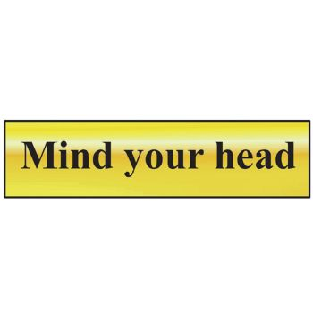 Scan Mind Your Head - Polished Brass Effect 200 x 50mm - SCA6030