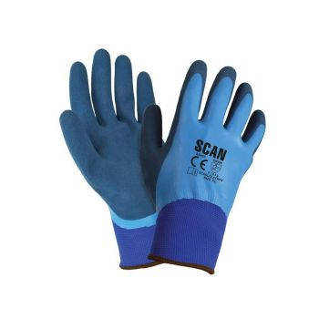 Scan Waterproof Latex Gloves - Extra Large (Size 10) - SCAGLOLATWPX