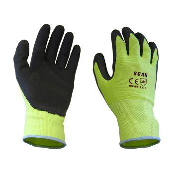 Scan Yellow Foam Latex Coated Gloves 13g - Extra Large - SCAGLOLATYXL