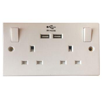 SMJ Switched Socket 2-Gang 13A with 2 x USB - SMJPPSK2USB