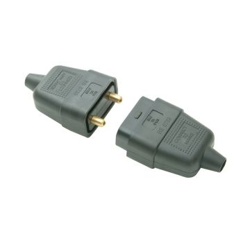 SMJ Black Plug & Socket 10A 2 Pin - SMJRC2PBC