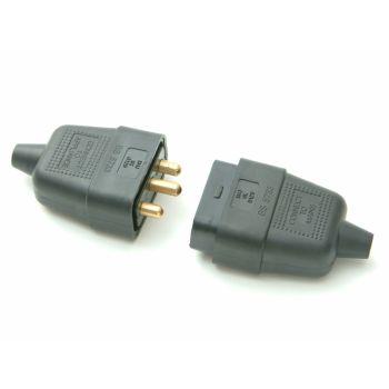 SMJ Black Plug & Socket 10A 3 Pin - SMJRC3PBC