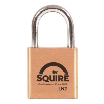 Squire LN2 - Lion Range - 25mm Premium Solid Brass Padlock - Open Shackle