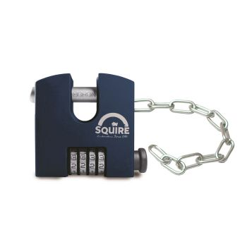 Squire SHCB65/Chain - SHCB High Security Combination Padlock With Chain Attachment (2.4mm x 305mm) - 4 wheel