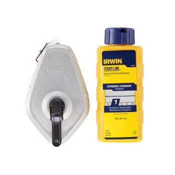 IRWIN Aluminium 30m Chalk Line & Blue Chalk Pack - STL10507683