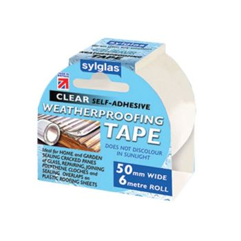 Sylglas Clear Weatherproofing Tape 50mm x 6m Roll - SYLWT506