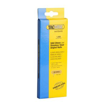 Tacwise Type 500 - 20mm 18G Stainless Angled Nails 1000 Pack - 1131
