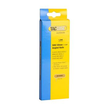 Tacwise Type 500 - 30mm 18G Angled Nails (1,000 Pack) - 0481