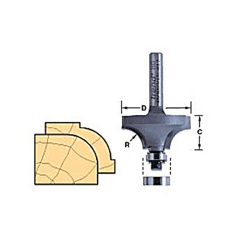 Trend 46/150 x 1/4 TCT Bearing Guided Ovolo & Round Over 12.7mm Radius - TRE4615014TC