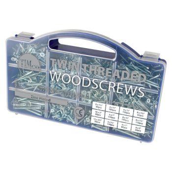 Timco Twin-Thread Woodscrews - Mixed Tray - PZ - Double Countersunk - Zinc - 1140 Pcs
