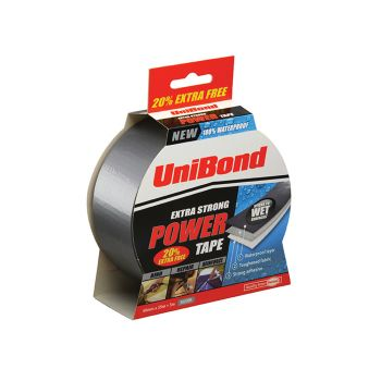 Unibond Powertape Silver 50mm x 25m + 20% free - UNI1418423