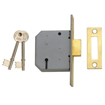 UNION 2177 3 Lever Mortice Deadlock Satin Chrome 77.5mm 3in Visi - UNNY2177SC30