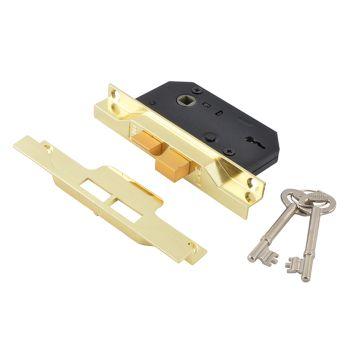 UNION 2242 2 Lever Mortice Rebated Sashlock Electro Brass 65.5mm 2.5in Visi - UNNY2242EB25