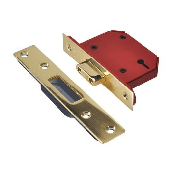 UNION StrongBOLT 2103S 3 Lever Mortice Deadlock Polished Brass 81mm 3in Visi - UNNY2103PB30