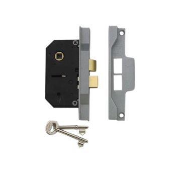 UNION 2242 2 Lever Mortice Rebated Sashlock Silver Enamel 65.5mm 2.5in Visi - UNNY2242SE25