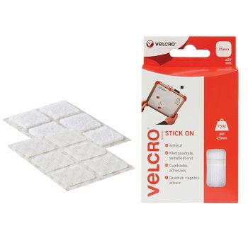 VELCRO Brand Stick On Squares 25mm White Pack of 24 - VEL60235