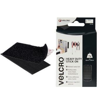 VELCRO Brand Heavy-Duty Stick On Strips (2) 50 x 100mm Black - VEL60239