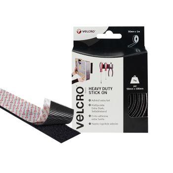 VELCRO Brand Heavy-Duty Stick On Tape 50mm x 1m Black - VEL60241