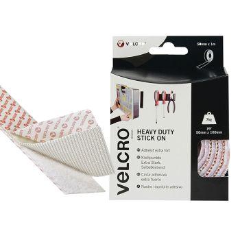 VELCRO Brand Heavy-Duty Stick On Tape 50mm x 1m White - VEL60242