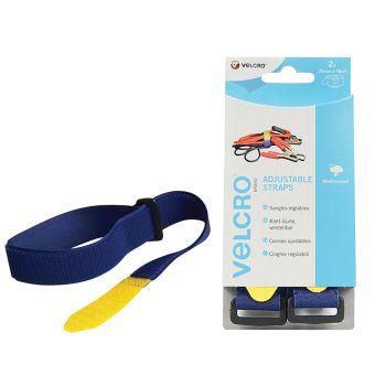 VELCRO Brand Adjustable Straps (2) 25mm x 46cm Blue - VEL60328