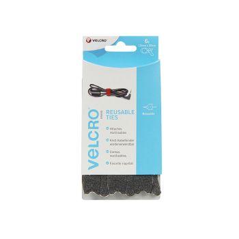 VELCRO Brand ONE-WRAP Reusable Ties (6) 12mm x 20cm Black - VEL60388