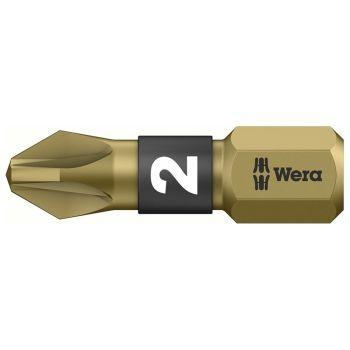 Wera 855/1 BTH BiTorsion Pozidriv PZ2 Insert Bit Extra Hard 25mm Pack of 10 - WER056712