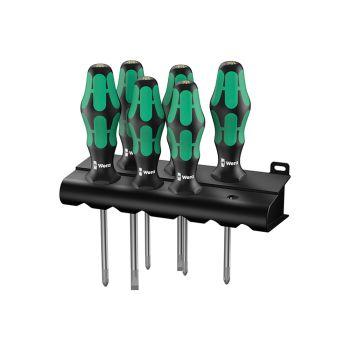 Wera Kraftform Plus Lasertip 334/355/6 Screwdriver Set, 6 Piece SL/PZ - WER105656
