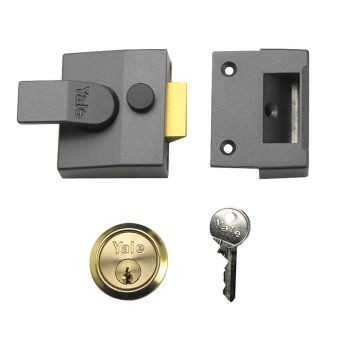 Yale P85 Deadlocking Nightlatch 40mm Backset DMG Finish Satin Chrome Cylinder Visi - YALP85DMGSC