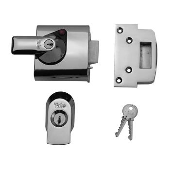 Yale BS1 Nightlatch British Standard Lock 60mm Backset Chrome Finish Visi - YALPBS1CH