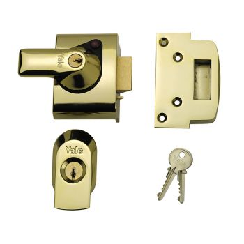 Yale BS2 Nightlatch British Standard Lock 40mm Backset Brasslux Finish Visi - YALPBS2BLX