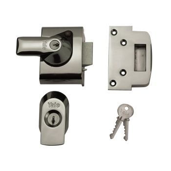 Yale BS2 Nightlatch British Standard Lock 40mm Backset Chrome Finish Visi - YALPBS2CH