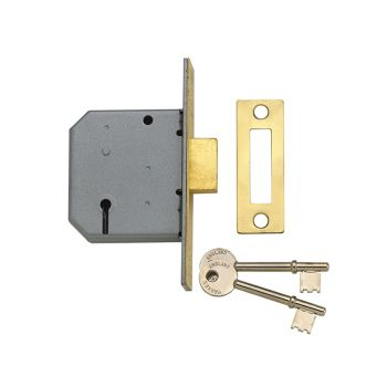 Yale PM322 3 Lever Mortice Deadlock Polished Brass 79mm 3in - YALPM322PB30