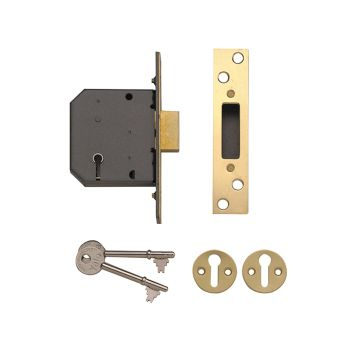Yale PM552 5 Lever Mortice Deadlock 80mm 3in Polished Brass - YALPM552PB30