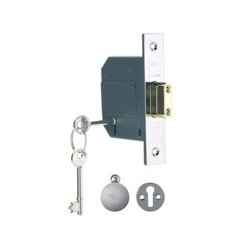 Yale PM562 Hi-Security BS 5 Lever Mortice Deadlock 68mm 2.5in Polish Chrome - YALPM562CH25