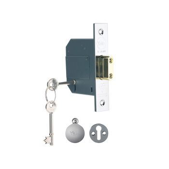 Yale PM562 Hi-Security BS 5 Lever Mortice Deadlock 81mm 3in Polish Chrome - YALPM562CH30
