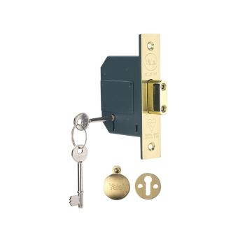 Yale PM562 Hi-Security BS 5 Lever Mortice Deadlock 68mm 2.5in Polish Brass - YALPM562PB25