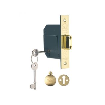 Yale PM562 Hi-Security BS 5 Lever Mortice Deadlock 81mm 3in Polish Brass - YALPM562PB30