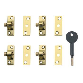 Yale 8K118 Economy Window Lock Electro Brass Finish Pack of 4 Visi - YALV8K1184EB